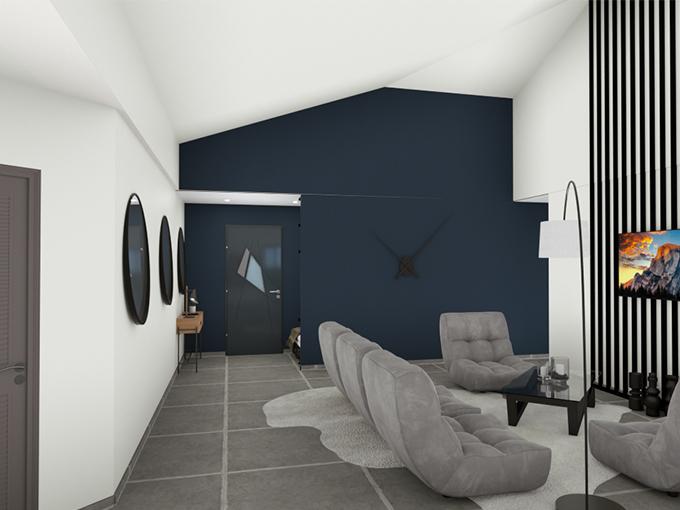 Salon contemporain avec canapé et toit cathédrale