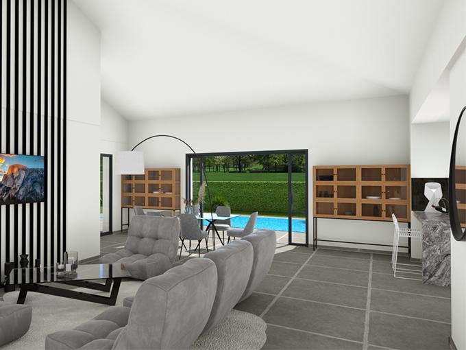 Salon avec baie vitrée à galandage avec vue piscine