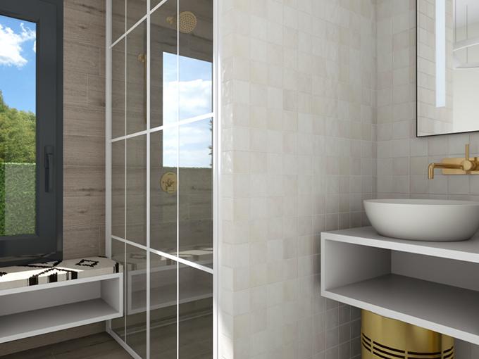 Salle d'eau avec meuble vasque et faïence marbre