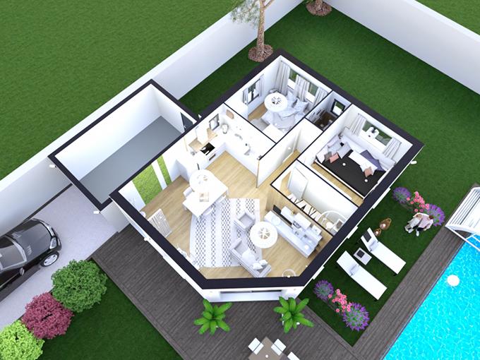 Plan d'une maison deux chambres avec garage