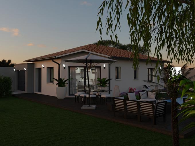 Maison moderne avec pan coupé et garage toit plat