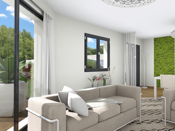 Salon avec canapé devant une grande baie vitrée