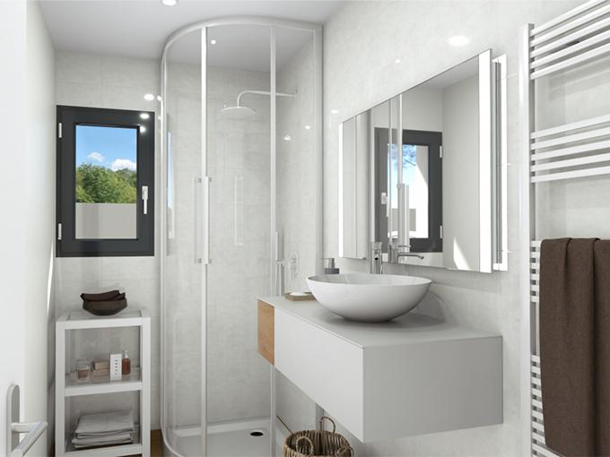 Salle d'eau avec cabine de douche et meuble vasque
