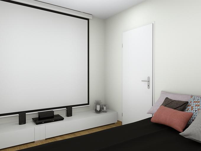 Chambre parentale avec écran de vidéoprojecteur