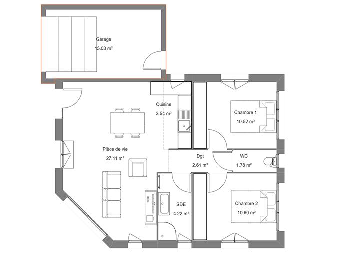 Plan maison deux chambres avec garage