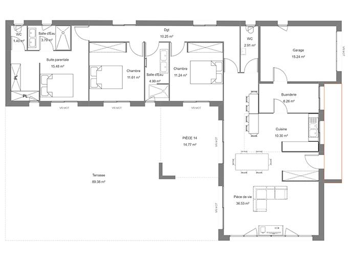 Plan de maison moderne avec suite parentale et garage
