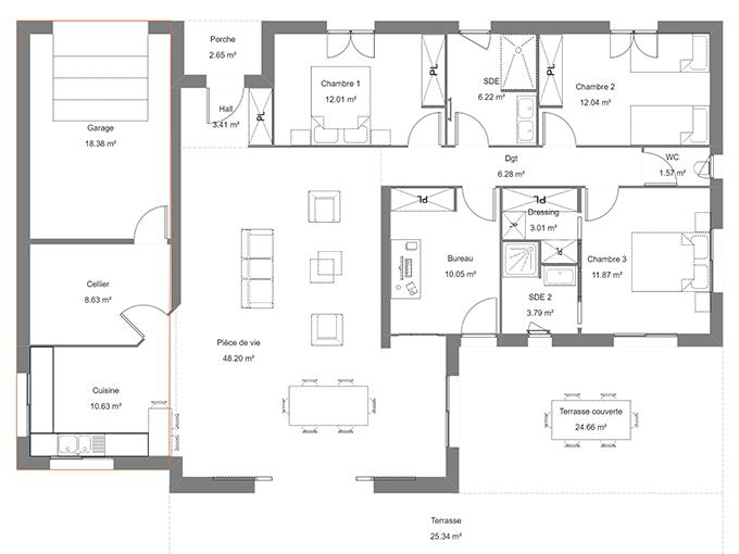Plan de maison avec 4 chambres et un garage