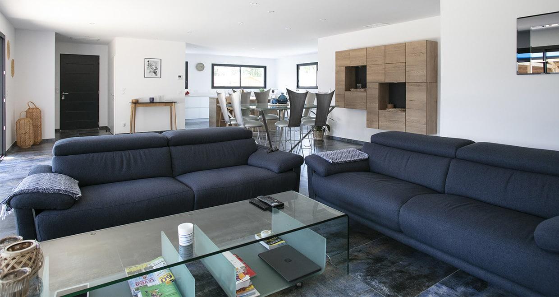 Grande pièce de vie avec canapés et table basse